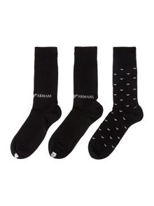 Emporio Armani 3 Pack Eagle Logo Ankle Socks