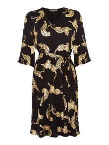 Biba Geo tigers tie waist jersey tunic dress