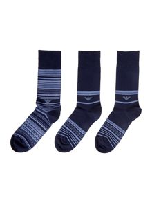 Emporio Armani 3 Pack Eagle Logo Striped Socks