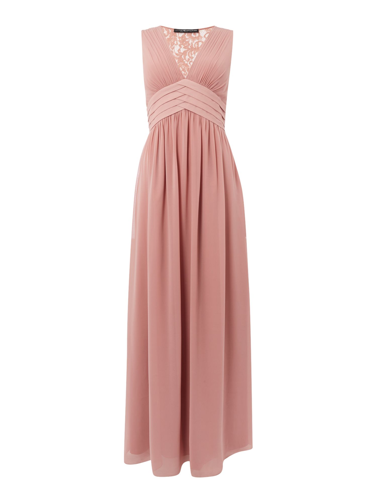 Little Mistress Sleeveless Lace Back Maxi Dress, Apricot