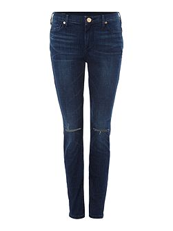 Halle Mid Rise Jeans in cobalt rush slits