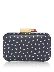 Lulu Guinness Fifi Smooth Leather Lip Print Clutch Bag