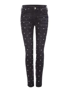 True Religion Halle Mid Rise Skinny Jeans in Black Moon Stone