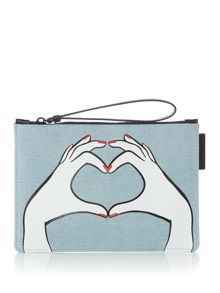 Lulu Guinness Heart Hands Denim Grace Pouch