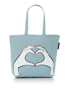 Lulu Guinness Heart Hands Denim Luisa Tote