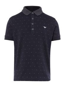 Armani Junior Boys Contrast Collar Printed Polo