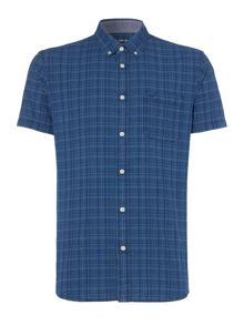 Criminal Lincoln Short Sleeve Indigo Check Shirt