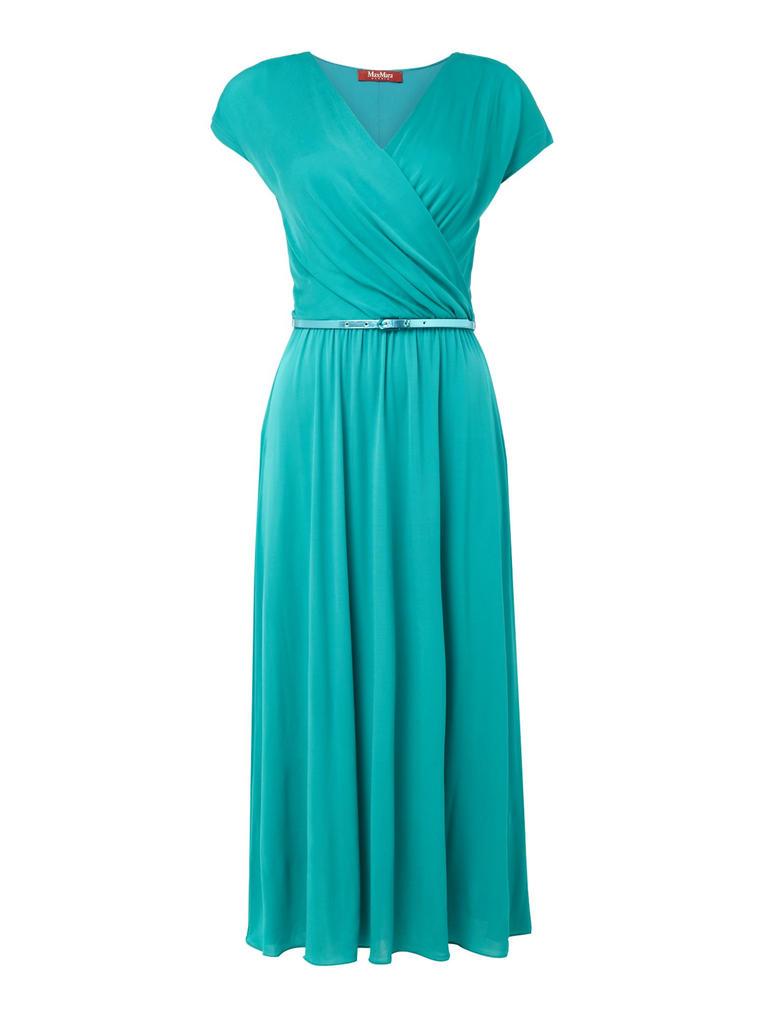 Max Mara Studio ARIANO short sleeve belted v neck dress, Turquoise