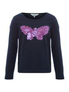 Little Dickins & Jones Girls Sequin Butterfly T-shirt