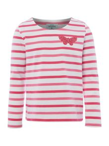 Little Dickins & Jones Girls Stripe Butterfly Corsage T-shirt