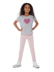 Little Dickins & Jones Girls Sequin Heart T-shirt