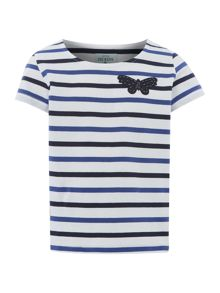 Little Dickins & Jones Girls Striped Short Sleeve T-shirt