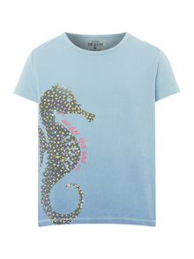 Little Dickins & Jones Girls Ombre Seahorse Print T-shirt