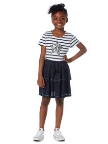 Little Dickins & Jones Girls Sequin Star Striped T-shirt