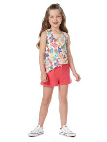 Little Dickins & Jones Girls Tropical Print Bow Vest