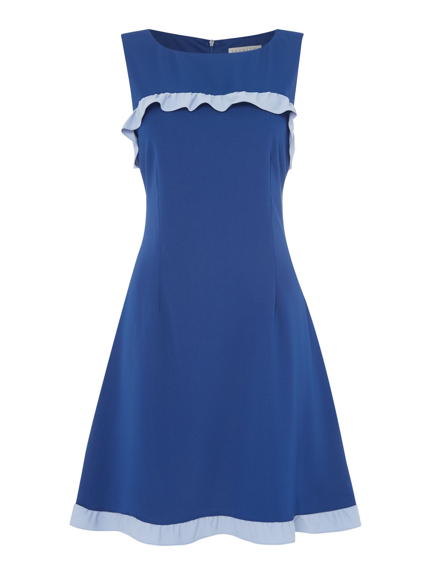 Shubette Sleeveless crepe dress with contrast frill, Blue
