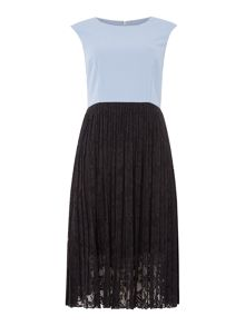 Shubette Sleeveless crepe dress with contrast lace hem