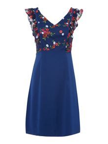 Shubette Crepe fit and flare dress with embroidered top