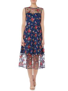 Shubette Cap sleeve all over embroidered midi dress