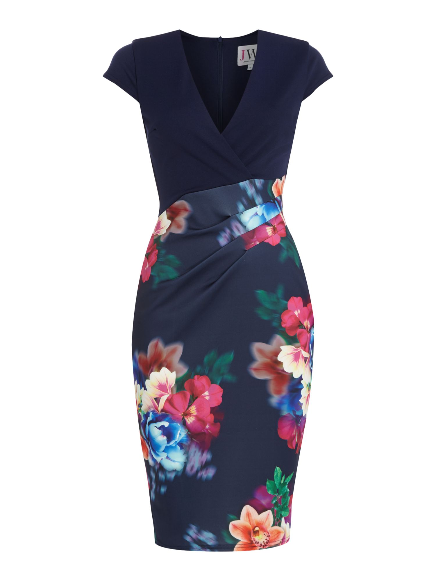 Jessica Wright Cap sleeve print skirt bodycon dress, Blue