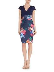 Jessica Wright Cap sleeve print skirt bodycon dress