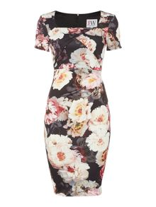 Jessica Wright Cap sleeve print bodycon dress
