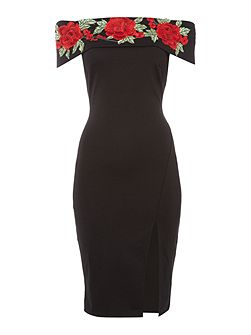 Bardot neckline dress