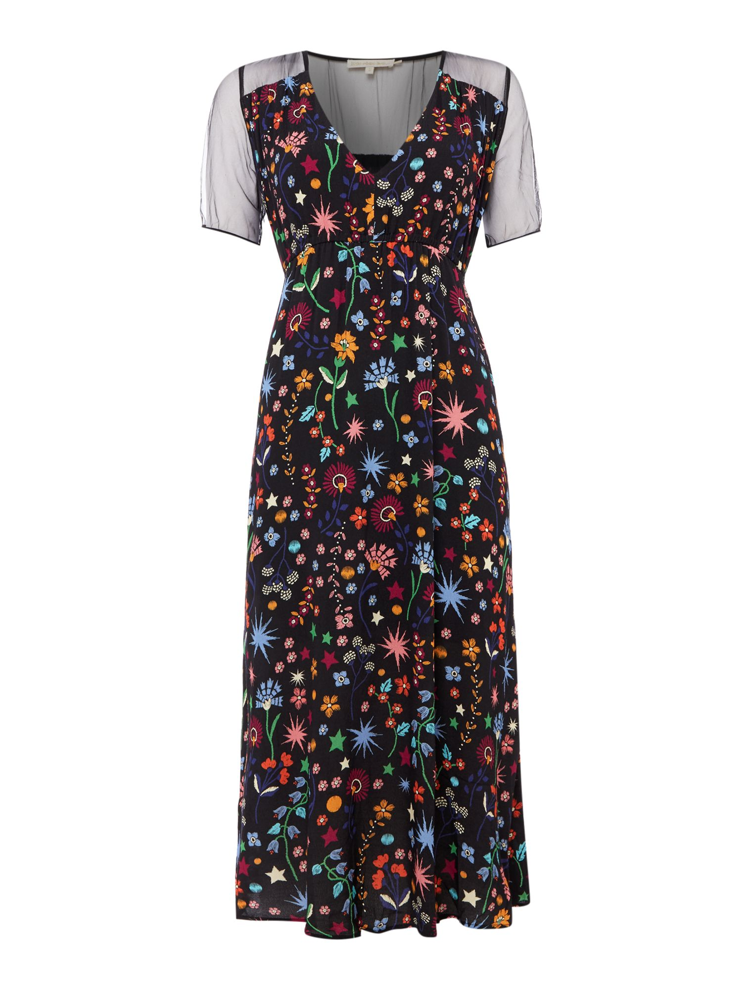 Little White Lies Short Sleeve Crew Neck Dress with Floral Print, Multi-Coloured