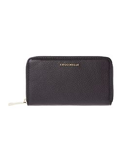 Metallic Saffiano Zip Around Purse