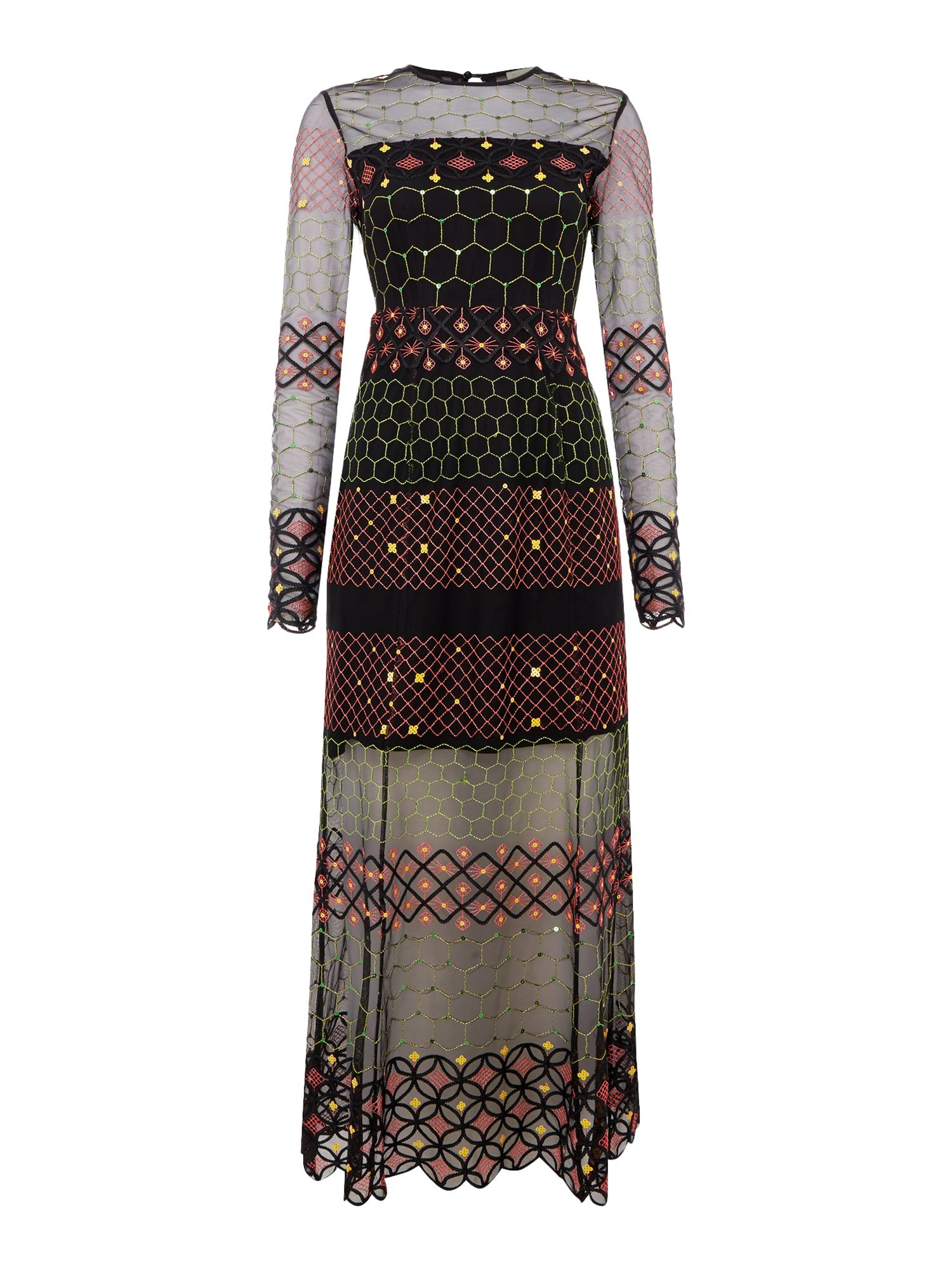 Little White Lies Long Sleeves Crew Neck Maxi Dress with Print, Multi-Coloured