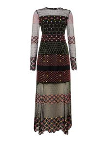 Little White Lies Long Sleeves Crew Neck Maxi Dress with Print