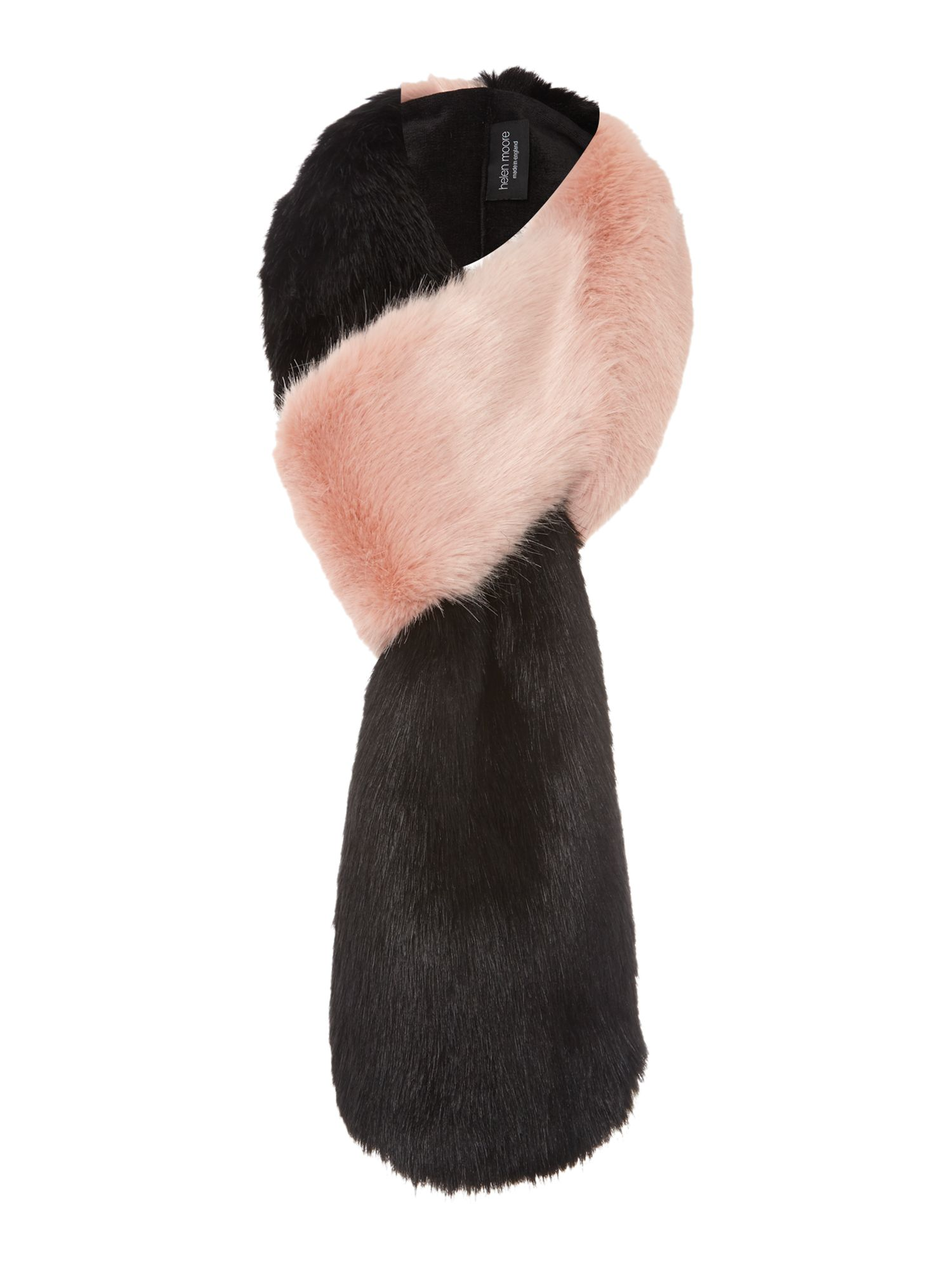 Helen Moore Helen Moore Two-tone faux fur loop scarf, Black Multi