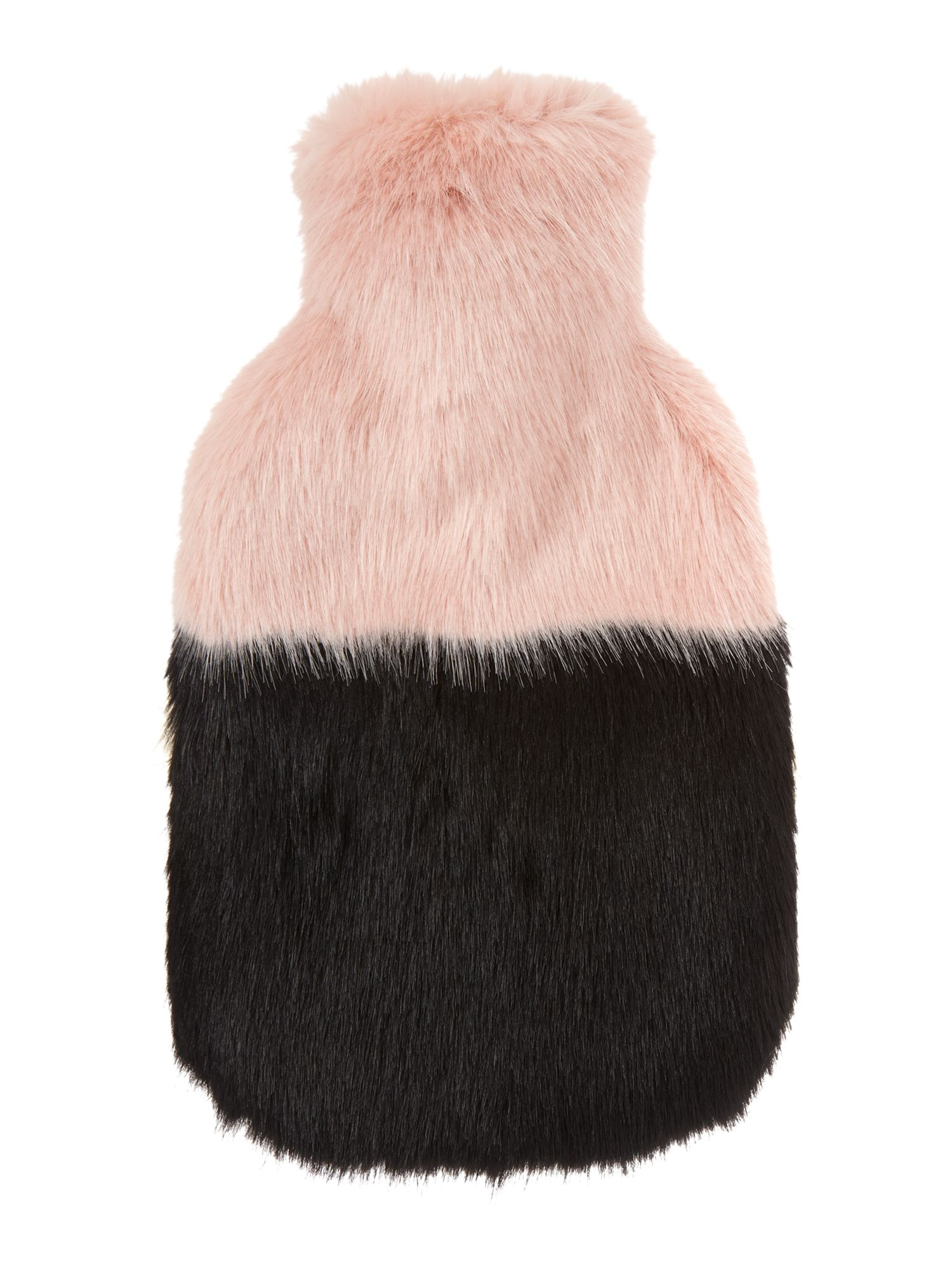 Helen Moore Helen Moore Faux fur two tone hot water bottle, Black Multi