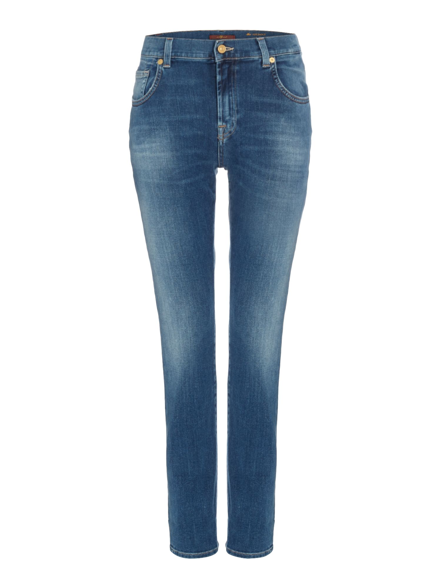 7 For All Mankind Relaxed skinny jean in aged denim, Denim Mid Wash