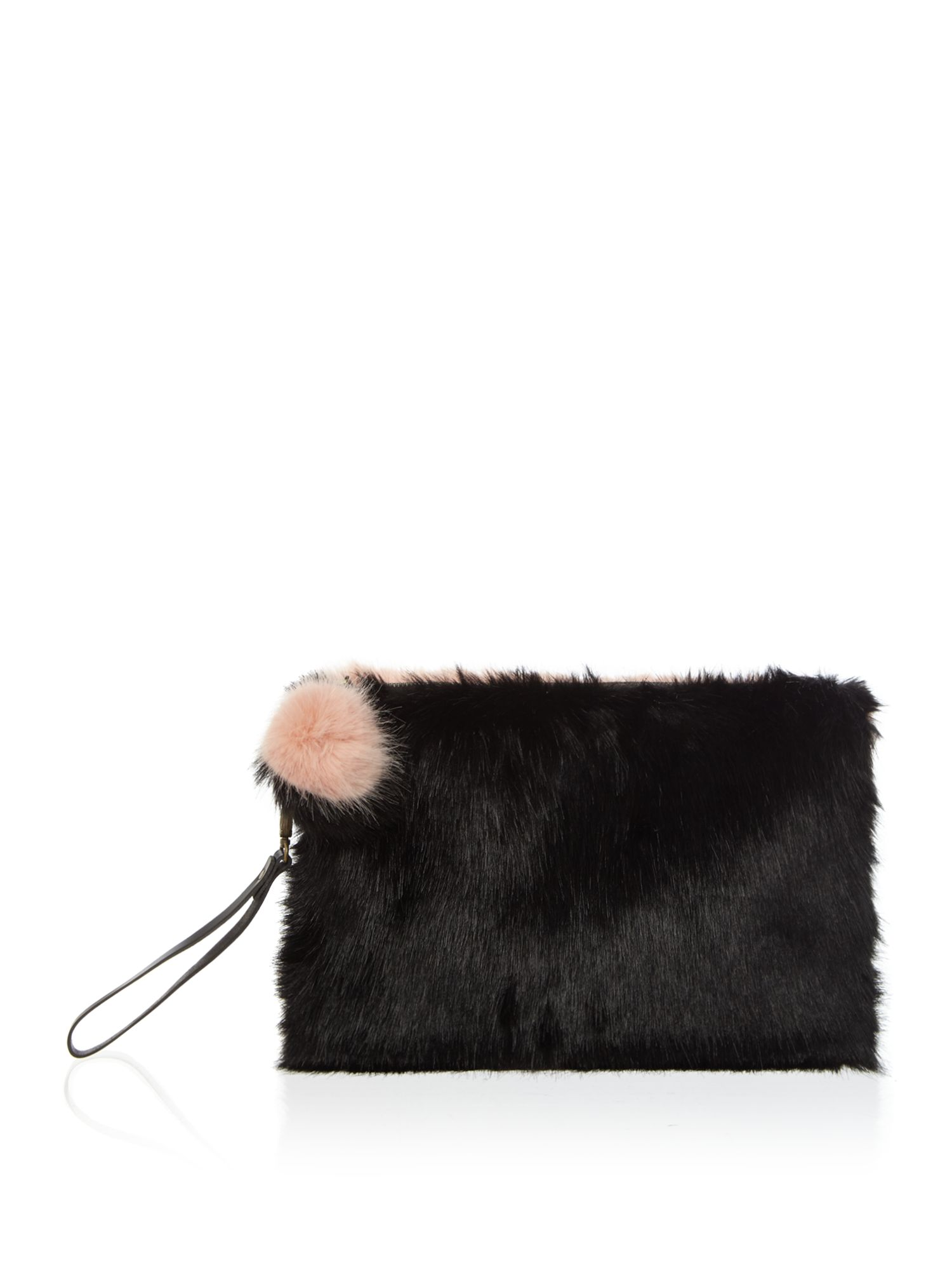 Helen Moore Helen Moore Large faux fur two tone clutch bag, Black Multi