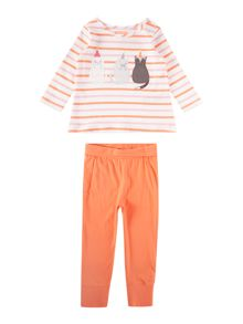 Joules Baby Cat Long Sleeve Tshirt and Legging Set