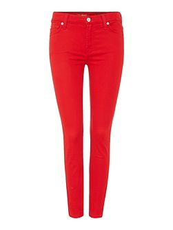 Ankle Skinny Rich Sateen Jean in red
