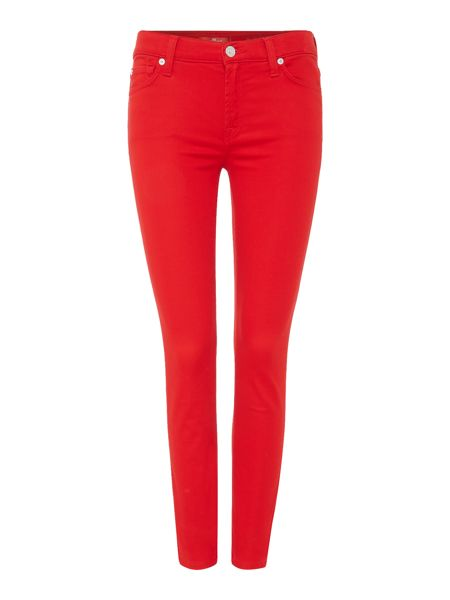 7 For All Mankind Ankle Skinny Rich Sateen Jean in red