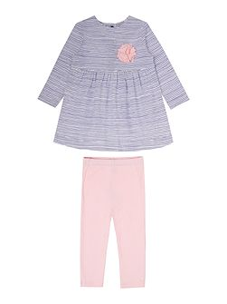 Baby Girl Corsage Dress With Leggings