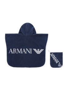 Armani Junior Baby Hooded Poncho Beach Towel