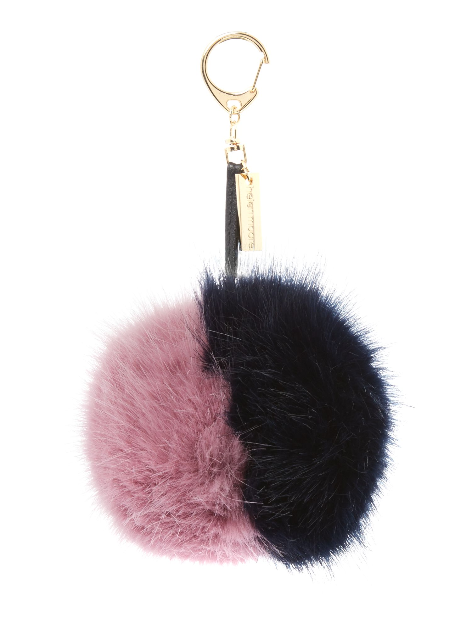 Helen Moore Helen Moore Faux fur two tone pom pom keyring, Multi-Coloured