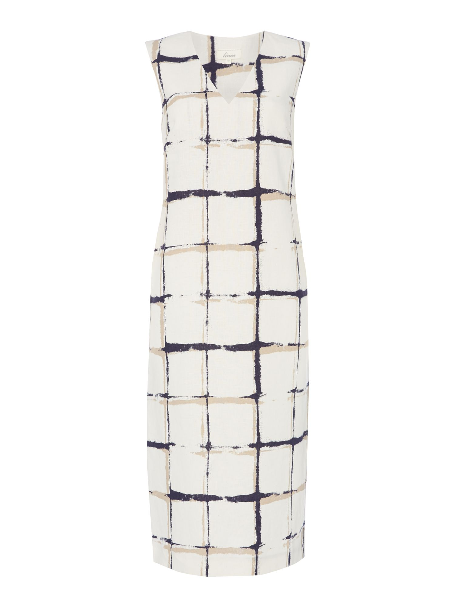 Linea Lola printed v neck linen dress, White