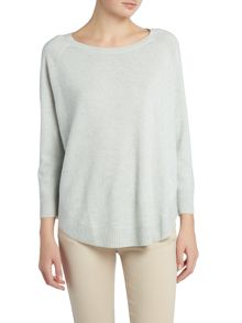 Repeat Cashmere Round hem ribbed cashmere mix jumper