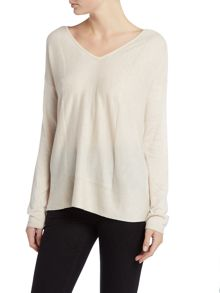 Repeat Cashmere Ribbed edge and side v neck jumper