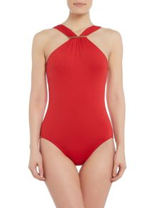 Michael Kors Logo bar high neck one piece swimsuit