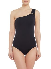 Michael Kors Logo bar shoulder one piece swimsuit