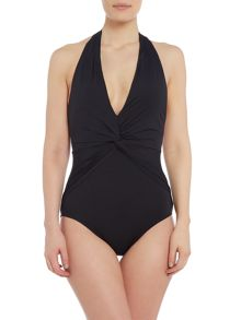Michael Kors Deep V twist halter one piece swimsuit