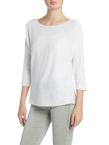 Repeat Cashmere Ribbed side jumper