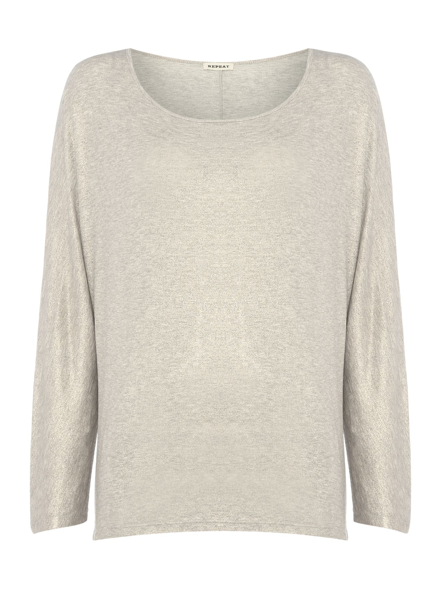Repeat Cashmere Shimmer long sleeve t-shirt, Silverlic