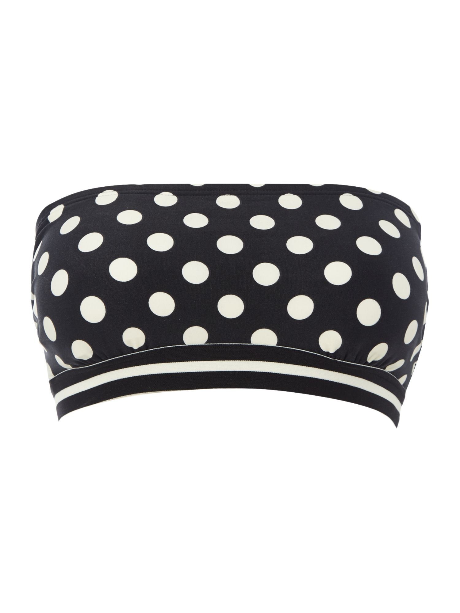 Kate Spade New York Polka dot bandeau bikini top, Black